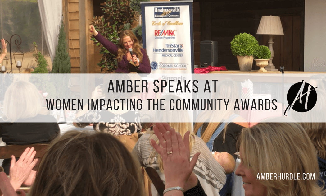 Amber Hurdle speaking at Women Impacting the Community Awards Banquet in Hendersonville, Tennessee